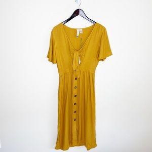 NWT Mimi Chica Mustard Yellow Midi Dress
